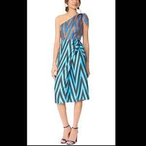 DVF One Shoulder Knot Scarf Dress In Odeon Chevron